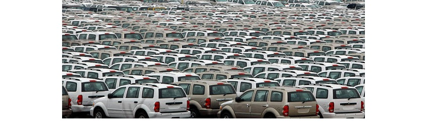 Parking Lots Of Unsold New Cars